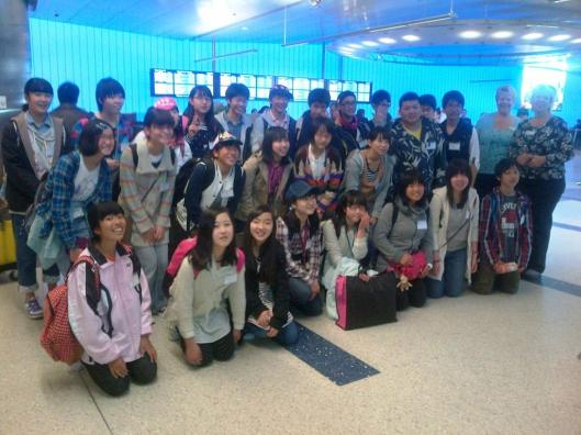 Japanese students arrive at LAX
